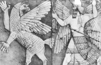 The god El fighting Zu.  From an Assyrian relief ca 860 BC.